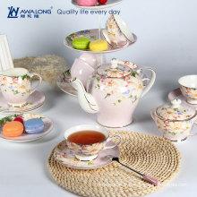 Kapok set de thé rose fleur / Set de thé royal avec thé / théière en porcelaine de type Pakistan de Chine