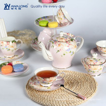 Kapok flower pink tea set / Royal tea set with cup / Pakistan type porcelain tea set from China