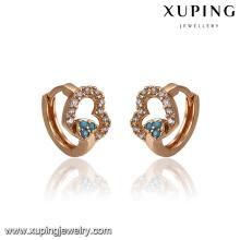 93374 Hot vente nouveau design irlandais élégant coeur forme turquoise huggies boucles d'oreilles pour les dames