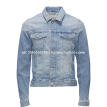 cool design long sleeve jeans jacket for wholesale
