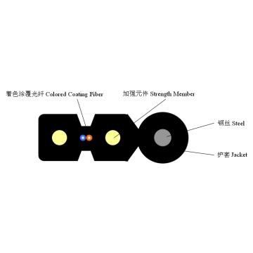 Caiga el cable auto-compatible de la gota de la fibra óptica del Bow-Type