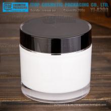 Cilindro de YJ-A200 200g blanco y negro doble capa redonda tarro de acrílico grande y pesada de 200g