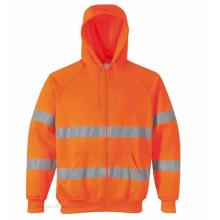 Hooded reflective orange sweatshirt with pocket