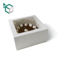 Emballage de boîte de gâteau de cadeau de carton d'OEM de lien supplémentaire avec la fenêtre claire de PVC