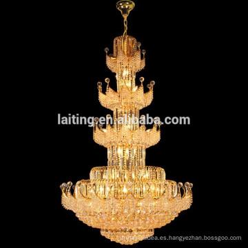 Gran iluminación grande de la lámpara de la lámpara de la ejecución de las escaleras cristalinas grandes del hotel