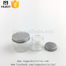 de qualité alimentaire 30ml 50ml 100ml en plastique transparent PET pot avec capuchon en aluminium