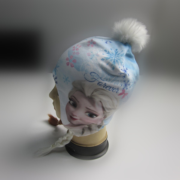 Girls Funny Frozen Full Print Hat With Braid