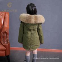 Accepter l'ordre personnalisé parka raton laveur rayé parka enfant avec capuche manteau d'hiver épais