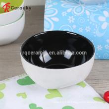 Hochwertige Farbe glasierte Innenseite weiße außen Keramik Steinzeug Reis Schüssel