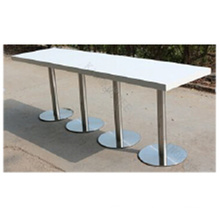 White Height Extra Long Bar Table with Stainless Steel Base