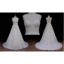 Sling Sleeve Sweetheart Lace Applique Wedding Dress