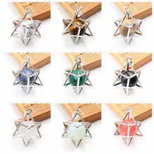 Fashion Eight Pointed Star Pendant Necklace Gold Color 3D Geometry Star with Natural Stone Necklace for Women Girls