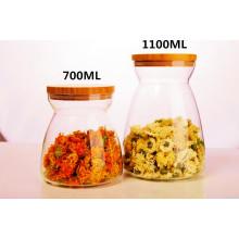 Fabricante de té de almacenamiento de la cocina Borosilicato de vidrio Tea Pot botella de almacenamiento