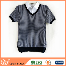 Women Fake Shirts Collar Half Sleeve Stripe Sweater