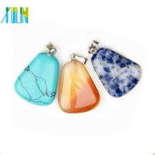 jóias charme brilhante pingente de gemstone plana de forma livre brilhante