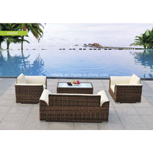 High Quality PU Leather and Rattan Garden Set