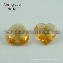 Coração de cristal amarelo lustre pendente