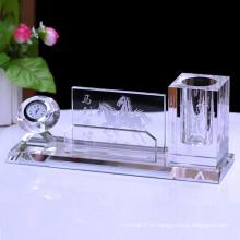 Support simple en cristal de stylo de bureau de papeterie, support en cristal de stylo d'horloge