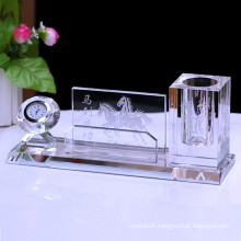 Office Stationery Crystal Single Pen Holder, Crystal Clock Pen Holder