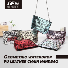 Nova geometria de gota geométrica bolsa feminina com corrente de diamante bolsa com alça de um ombro lazer dobrável a laser
