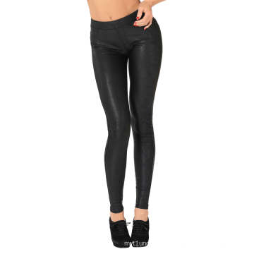 2015 New Coming Dark Spot Leather Look Leggings with Broken Effect