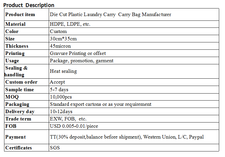 Die Cut Plastic Laundry Carry  Carry Bag Manufacturer