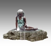 Grande Statue Fille Fontaine Décoration Bronze Sculpture Tpls-028