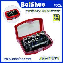 "Cheap Price 1/4"" 19PCS Hand Socket and Bit Socket Set"