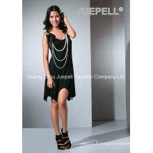Robe Asymétrique Accessoire Aux Fleurs et Perles Aux Mesures