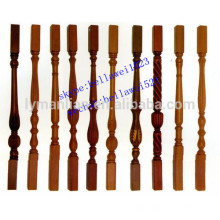 carved red oak wood staircase pillars