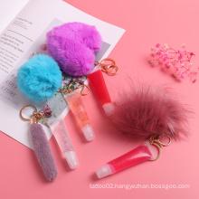2021 New Design Cute Lipgloss Custom Logo Private Label Lipgloss Keychain Vegan Glitter Wholesale Natural Lip Gloss