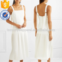 White Pleated Stretch Crepe Midi Dress OEM/ODM Manufacture Wholesale Fashion Women Apparel (TA7114D)