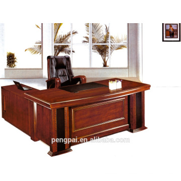 Round edge Mdf paper office desk boss table wooden office table from Foshan