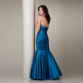 Elegant Mermaid Sayang garis leher Strapless Lantai-panjang Satin Mengacak-acak Beading Evening Dress