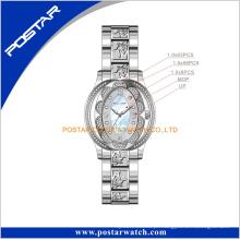 Relógio de pulso de aço inoxidável das senhoras da jóia por atacado da forma