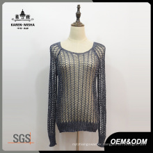 Women Mesh Hollow Reglan Knitted Sweater