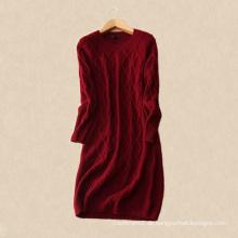 Vintage-Stil über Knie Strickkleid runden Kragen langen Ärmeln reine Kaschmir Frauen Pullover Kleid