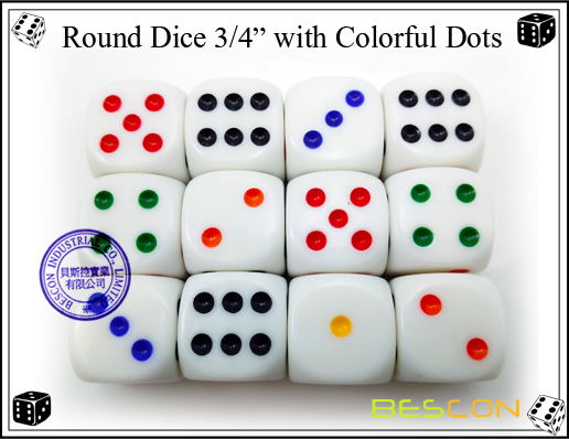 Round Dice 19MM with Colorful Dots
