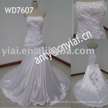WD7607 Robe de mariage en satin pleine jupe de la Manufacture Real