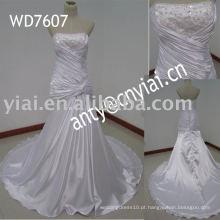 WD7607 Real Manufacture saia cheia vestido de noiva de cetim