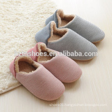 Women or man slipper striped cotton fabric winter warm slipper indoor shoes