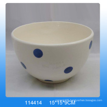 Handpainting ceramic dolomites bowl with white dot for kitchen