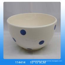 Pintado à mão de cerâmica dolomitas tigela com ponto branco para cozinha
