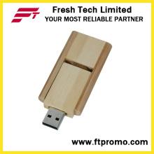 16GB giratório de bambu e madeira estilo flash drive USB (d808)