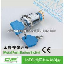 19mm CMP waterproof anti-vandal stainless steel 1NO 1NC or 2NO 2NC key switch ip40