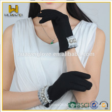 2015 Pretty Elegant Warm Black Wool Gloves,New Design Black Wool Gloves with A Row of Pearl Decoration on the Cuff