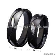 Anéis de promessa de noivado de diamante preto personalizado, jóias de anel do vintage de diamante preto