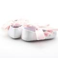 Sapatos de vestido de tecido de algodão branco rosa