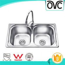 Limpieza fácil decorativa comercial cuenco doble fregadero de cocina decorativo fácil limpieza comercial cuenco doble fregadero de cocina