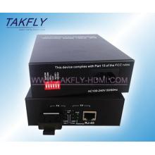 Convertidor de medios de fibra óptica de 10/100/1000 m de fibra óptica de 20 km Modelo único
